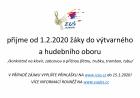 ZUŠ JESENÍK PŘIJME OD 1.2.2020 NOVÉ ŽÁKY!
