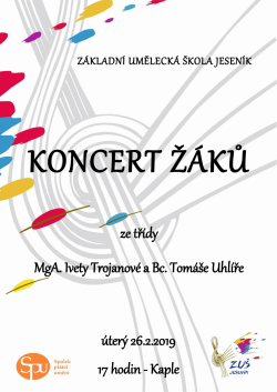 Koncert žáků ze třídy Ivety Trojanové a Tomáše Uhlíře